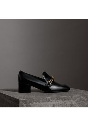 Burberry Link Detail Patent Leather Block-heel Loafers, Size: 36, Black