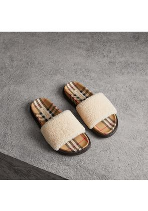 Burberry Shearling and Vintage Check Slides, Size: 36, Brown