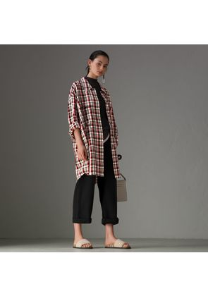Burberry Small Scale Check Oversized Shirt, Size: 04, Red