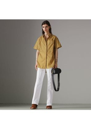 Burberry Short-sleeve Tiled Archive Print Cotton Shirt, Size: 04, Yellow