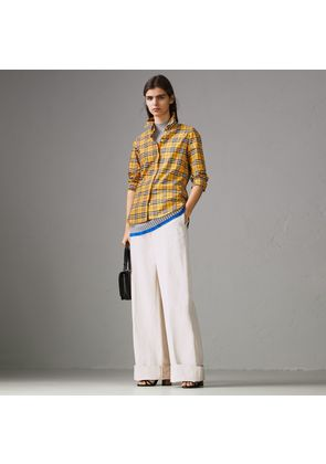 Burberry Check Cotton Shirt, Size: 04, Yellow