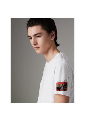 Burberry Graffitied Ticket Print T-shirt, Size: M, White