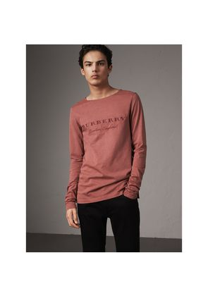 Burberry Long-sleeve Embroidered Cotton Top, Brown