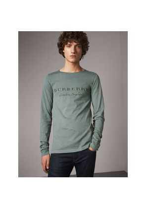Burberry Long-sleeve Embroidered Cotton Top, Green