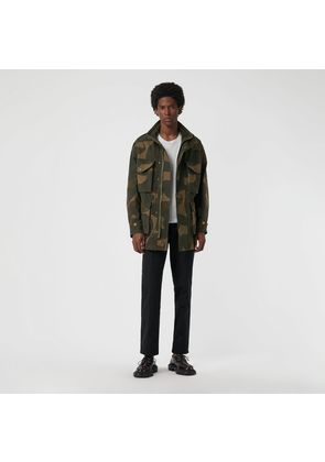 Burberry Camouflage Print Cotton Canvas Field Jacket, Size: 44, Green