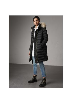 Burberry Detachable Fur Trim Down-filled Puffer Coat with Hood, Black