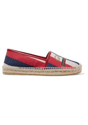 Gucci - Pilar Leather-trimmed Striped Logo-print Canvas Espadrilles - Navy