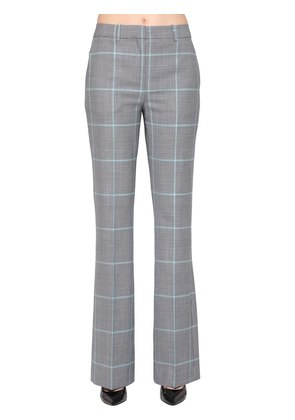 FLARED CHECK WOOL BLEND PANTS