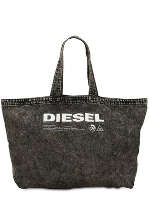LOGO PRINTED WASHED DENIM TOTE BAG
