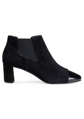 Casadei Woman Patent Leather-trimmed Suede Ankle Boots Black Size 41