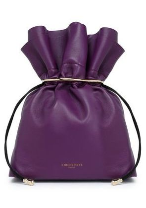 Emilio Pucci Woman Embellished Leather Pouch Violet Size -
