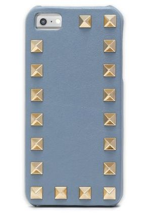 Valentino Woman Rockstud Leather Iphone 5 Case Gray Size -
