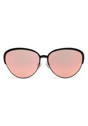 Matthew Williamson Woman Oval-frame Acetate And Gold-tone Mirrored Sunglasses Black Size -