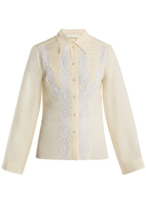 Lace silk blouse