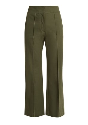 Kick-flare cotton-blend trousers