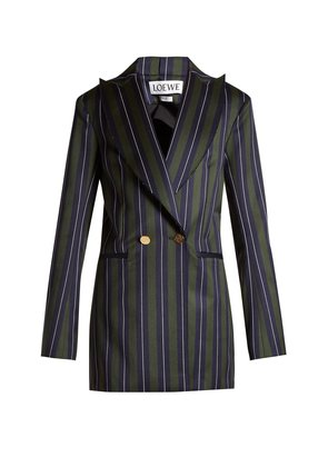Striped double-breasted wool-blend blazer