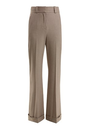 Checked wide-leg cuffed trousers