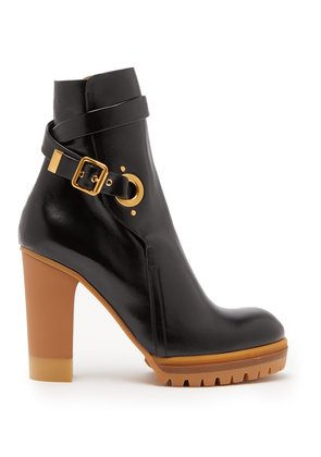 Trek buckled leather ankle boots