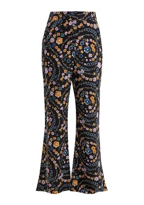 Floral-print crepe trousers