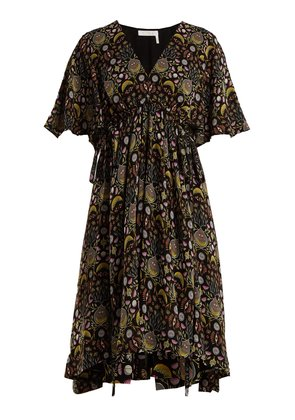 Floral-print tie-waist crepe dress