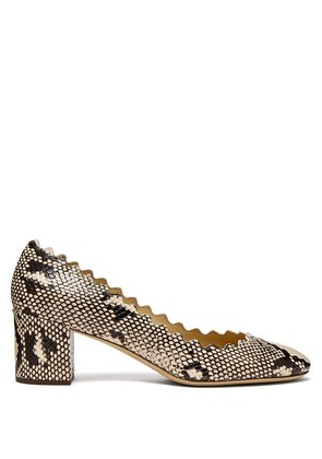 Lauren scalloped-edge python-effect leather pumps