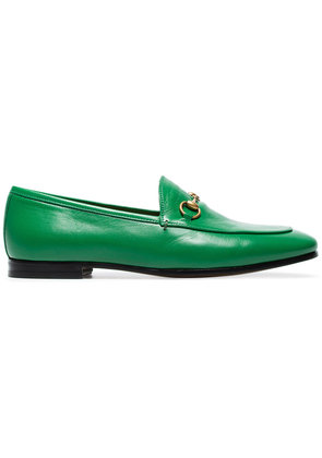 Gucci Green Jordaan leather loafers