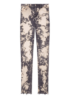 Gucci embroidery stretch tight jeans - Pink & Purple