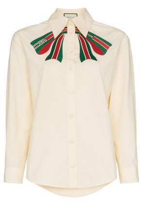 Gucci web bow embroidered cotton blouse - Nude & Neutrals