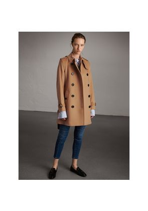 Burberry Wool Cashmere Trench Coat, Size: 16, Brown
