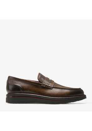 Bally Bardony Brown, Men's plain calf leather penny loafer in mid brown