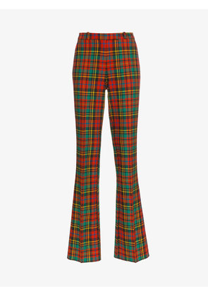 Etro check wool straight leg trousers