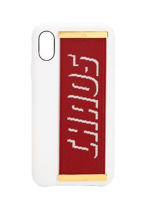 LOGO STRAP LEATHER IPHONE X COVER