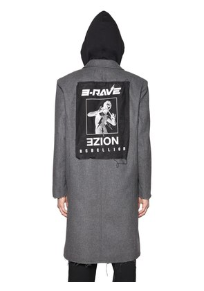 NOIZE HOODED WOOL CLOTH COAT