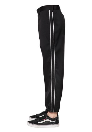 SIDE BANDS WOOL TWILL TRACK PANTS