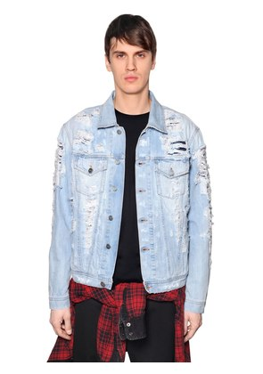 LAYERED DESTROYED DENIM JACKET