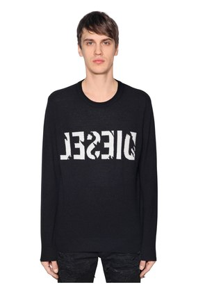 BACKWARDS LOGO WOOL CASHMERE SWEATER