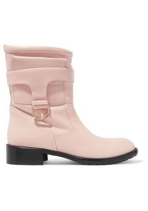 Redvalentino Woman Faux Fur Trimmed Leather Boots Pastel Pink Size 35
