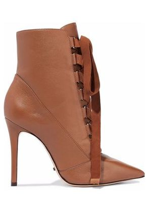 Schutz Woman Lace-up Suede-trimmed Leather Ankle Boots Brown Size 9.5