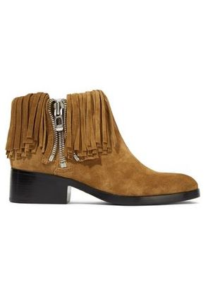 3.1 Phillip Lim Woman Alexa Fringed Suede Ankle Boots Tan Size 36.5