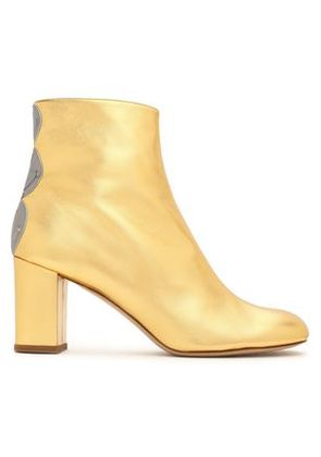 Camilla Elphick Woman Embellished Metallic Leather Ankle Boots Gold Size 37