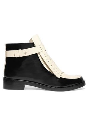 Tory Burch Woman Hyde Perforated Glossed-leather Ankle Boots Black Size 6