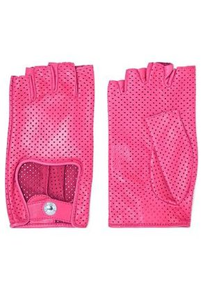 Causse Gantier Woman Perforated Leather Gloves Pink Size 6.5