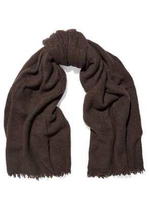Rick Owens Woman Distressed Wool-blend Scarf Dark Brown Size ONESIZE