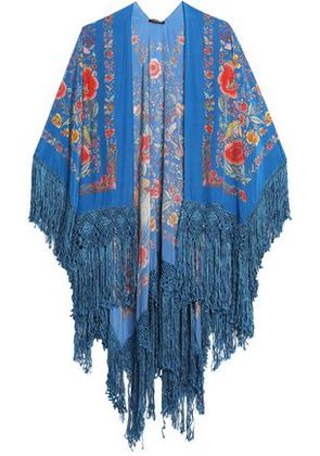 Roberto Cavalli Woman Fringe-trimmed Floral-print Silk Wrap Azure Size ONESIZE