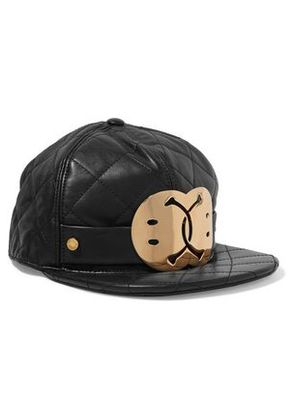 Moschino Woman Embellished Quilted Leather Cap Black Size S