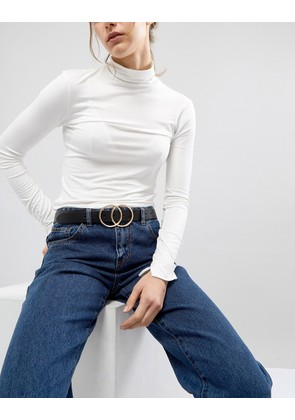 ASOS DESIGN leather double circle waist and hip belt - Black