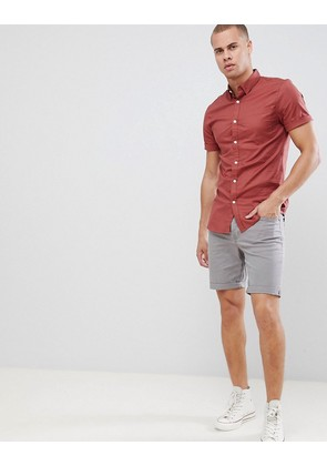 New Look Muscle Fit Shirt In Rust - Rust