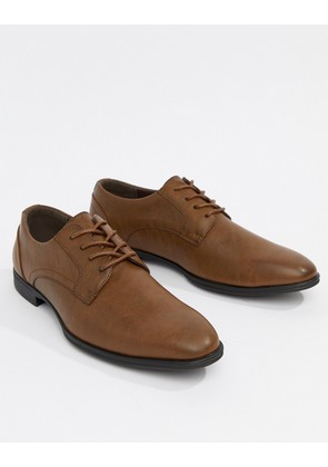 New Look Faux Leather Derby Shoes In Tan - Dark brown