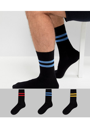 ASOS Sports Socks In Black Base With Bright Stripes 3 Pack - Black