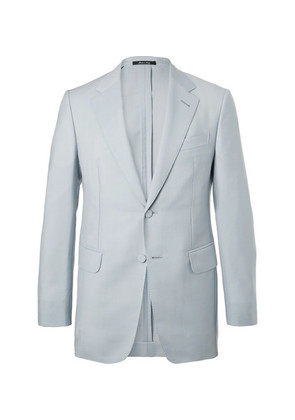 Stone Mohair And Wool-blend Suit Jacket